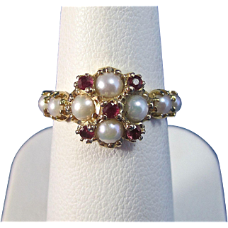 Vintage Estate 1920's Ruby & Cultured Pearl Engagement Birthstone Ring 14K