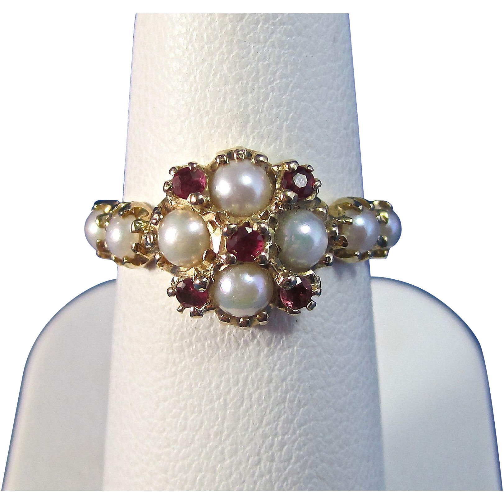 Art Deco 1920 S Natural Ruby Amp Cultured Pearl Engagement