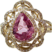 Vintage Estate Ceylon Natural Pink Sapphire & Diamond Engagement Anniversary Birthstone Ring 18K