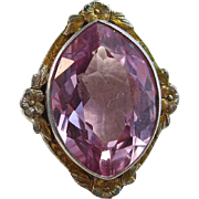 Art Deco Vintage Estate Pink Sapphire Birthstone Engagement Ring 18K White & Yellow Gold