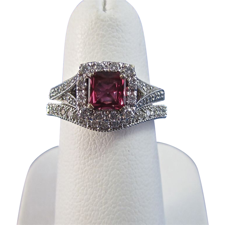 Natural Ruby Diamond Birthstone Estate Engagement Wedding Set Halo Mayfair Antique Jewelry Lane