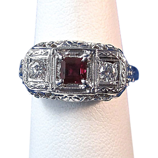 Vintage Estate 1940's Natural Ruby Diamond Engagement Birthstone Wedding Day Anniversary Ring 18K White Gold