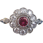 Art Deco Vintage 1930's Ruby Diamond Halo Engagement Birthstone Anniversary Ring Platinum