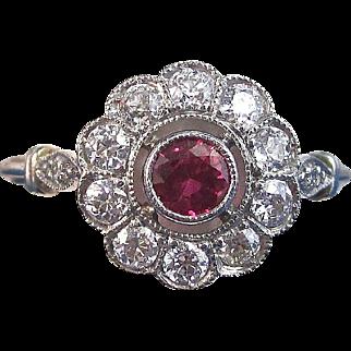 Art Deco Vintage 1930's Ruby Diamond Halo Engagement Birthstone Anniversary Ring Platinum