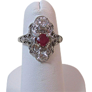 Vintage Art Deco 1920's Ruby & Diamond Engagement Wedding Birthstone Ring 14K