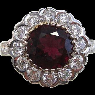 Vintage Estate Rubellite & Diamond Engagement Anniversary Birthstone Halo Ring 18K