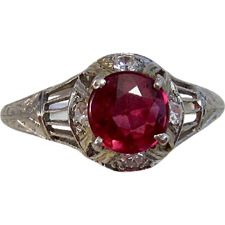 Vintage Estate Art Deco Ruby & Diamond Engagement Birthstone Ring Platinum