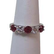Vintage Estate Ruby & Diamond Wedding Anniversary Birthstone Band Ring Platinum