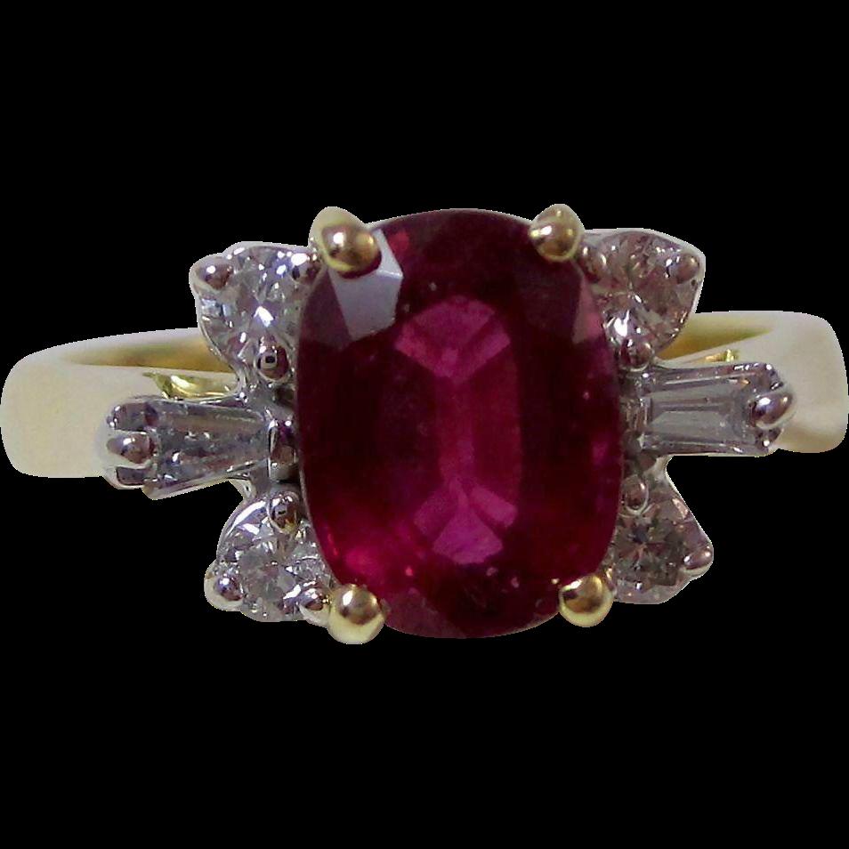 Vintage Estate Natural Rubellite & Diamond Engagement Birthstone Anniversary Ring 18K