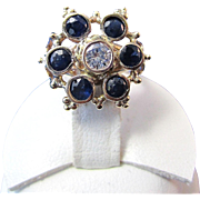 Sapphire & Diamond Antique Victorian Engagement Wedding Birthstone Ring 14K