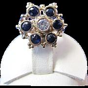 Sapphire & Diamond Antique Victorian Engagement Ring 14K