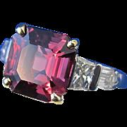 Luxurious 4.36 Spinel & Diamond Vintage Ring Platinum