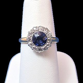 Delightful Sapphire Diamond Vintage Halo Ring 14K
