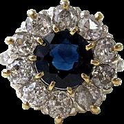 Vintage Art Deco 1930's Sapphire & Diamond Engagement Ring Platinum 14K