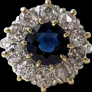 Vintage Art Deco 1930's Sapphire & Diamond Engagement Wedding Birthstone Ring Platinum 14K