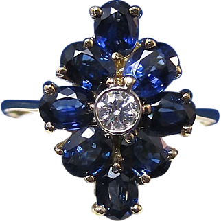 Rich Sapphire Diamond Vintage Ring 14K