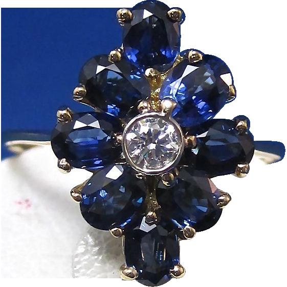 Natural Sapphire Diamond Estate Engagement Wedding Birthstone Ring 14K