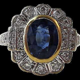 Brilliant Natural Sapphire Diamond Vintage Halo Ring 18K