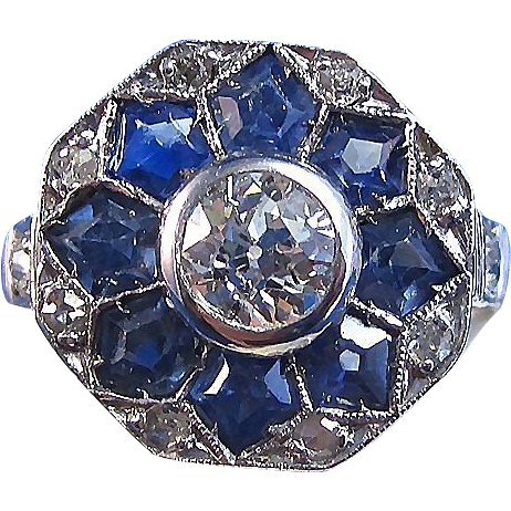Vintage Estate 1940's Ceylon Sapphire Old European Cut Diamond Engagement Wedding Birthstone Ring 14K White Gold