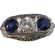 Art Deco 1930's Vintage Sapphire & VS Diamond Engagement Wedding Birthstone Ring 18K