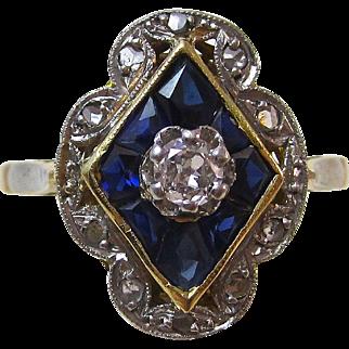Art Deco Vintage 1920's Sapphire & Diamond Ring 14K
