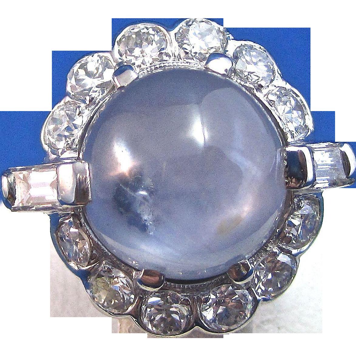 Vintage Estate 1950's Star Sapphire Engagement Wedding Birthstone Diamond Halo Ring Palladium
