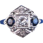 Vintage Estate Sapphire & Diamond Art Deco Engagement Wedding Birthstone Anniversary Three Stone Ring 14K White Gold