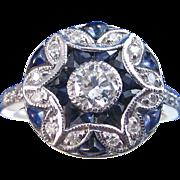 Art Deco Vintage 1930's Art Deco Engagement Anniversary Birthstone Sapphire & Diamond Ring 14K