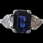 Vintage Estate Sapphire Heart Diamond Engagement Wedding Birthstone Ring 18K White Gold
