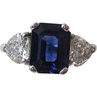 Romantic Sapphire Heart Diamond Vintage Engagement Ring 18K