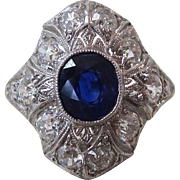 Vintage Estate Art Deco Sapphire & Diamond Engagement Wedding Birthstone Ring Platinum