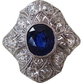 Vintage Estate Art Deco Sapphire & Diamond Engagement Ring Platinum