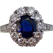 Vintage Estate Tiffany Sapphire Diamond Engagement Wedding Birthstone Halo Ring Platinum