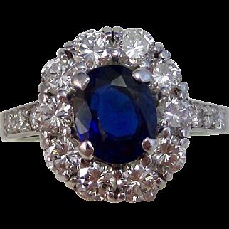 Vintage Estate Tiffany Sapphire Diamond Engagement, Wedding, Anniversary, Birthstone Halo Ring Platinum