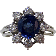 Vintage Estate Natural No Heat Blue Sapphire & Diamond Engagement Birthstone Anniversary Halo Ring Platinum
