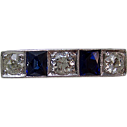 Art Deco Old Mine Cut Diamond & Sapphire Wedding Engagement Anniversary Estate Ring 18K