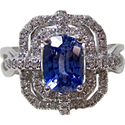 Vintage Estate Natural Ceylon Sapphire & Diamond Engagement Wedding Birthstone Ring 14K