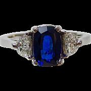 Vintage Estate 3 Stone Engagement Wedding Birthstone Ceylon Sapphire & Diamond Ring 14K