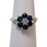 Vintage Estate Art Deco Sapphire & Diamond Floral Engagement Birthstone Ring 18K