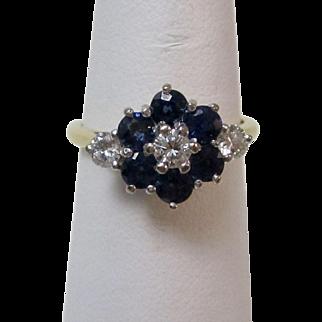Vintage Estate Art Deco Sapphire & Diamond Floral Engagement Birthstone Ring 18K