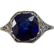 Vintage Estate Art Deco Natural Sapphire Engagement Birthstone Anniversary Ring Platinum