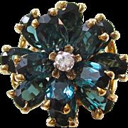 Vintage Estate 1980's Tourmaline & Diamond Engagement Wedding Birthstone Ring 14K