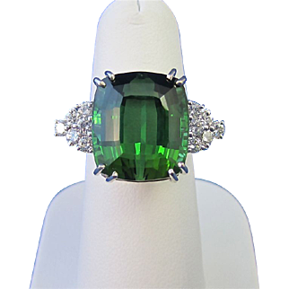 Vintage Estate 1960's Tourmaline Diamond Dinner Ring 18K