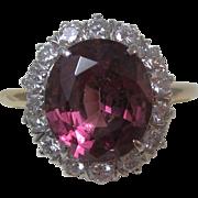 Vintage Estate 6.21 Carat Rhodolite Garnet & Diamond Engagement Wedding Anniversary Birthstone Ring 14K