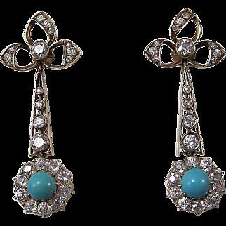 Outstanding 1.65 Diamond & Turquoise Antique Victorian Dangle Earrings 18K