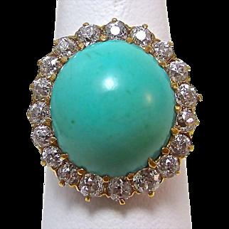 Glamorous Natural 9.79 Turquoise & Diamond Edwardian Antique Ring