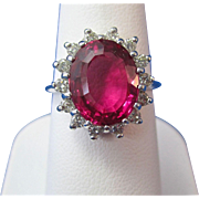 Vintage Estate 1960's Natural Pink Tourmaline Diamond Engagement Birthstone  Ring 14K