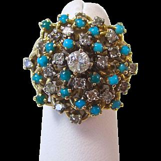 Fabulous Diamond & Turquoise Vintage Dinner Ring 14K