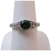 Rich Tourmaline & Diamond Vintage Engagement Ring 14K