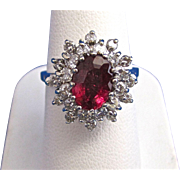 Vintage Estate Natural Rubellite & Diamond Engagement/Birthstone/Anniversary Ring 14K White Gold